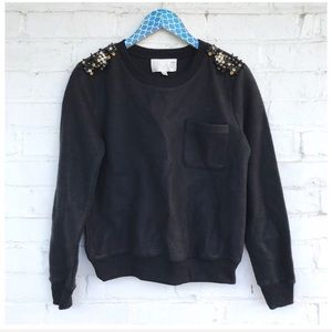 JOA Black Fleeced Bead Embellished Pocket Crewneck